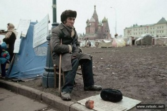 Homeless Soviet Man Sitting by Tent City